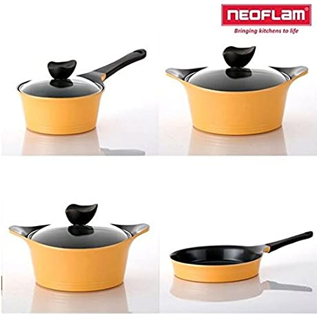 Neoflam AENI Cast Aluminum Chef S Stockpot 4 Pcs Set With Lid Light Orange IH Induction Compatible