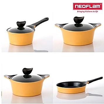 Neoflam AENI aluminio fundido de chef - Olla con tapa (4 piezas con ...