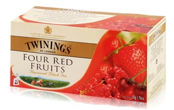 Twinings English Breakfast Four Red Fruit Tea 2g./sachets 25 Sachets/box Light Flavour Strength (Twinings Cherry Cinnamon)
