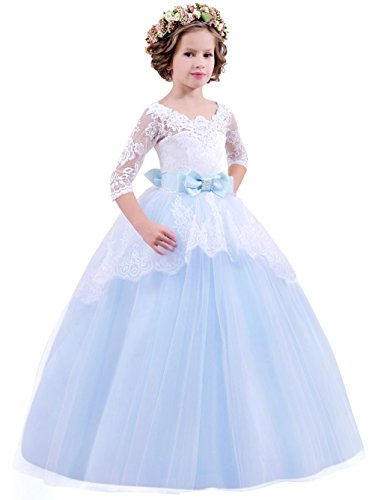 Jurebecia Flower Girl Backless Lace Tulle Wedding Dress Girls Princess Dance Pageant Prom Ball Gown Size 10 ()