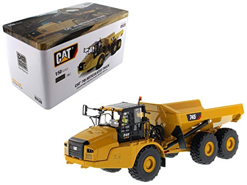 Diecast Masters CAT Caterpillar 745 Articulated Hauler Dump Truck with Removable Operator High Line Series 1/50 Diecast Model Cat Articulated Dump Truck