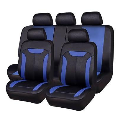 CAR PASS Montclair 11PCS Universal Fit Leather Seat Covers,fit for suvs,Trucks,sedans,Cars,Vehicles,Vans,Airbag Compatible (Blue): Automotive
