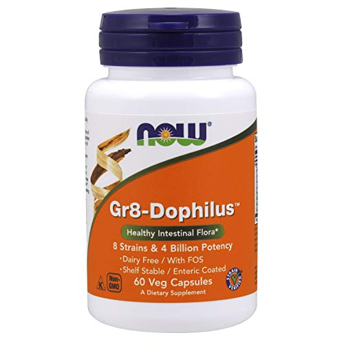 Now Supplements, Gr8-DophilusTMwith 8 Strains & 4 Billion Potency, Shelf Stable/Enteric Coated, 60 Veg Capsules