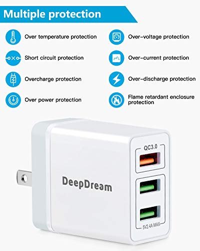USB Wall Charger, 30W Fast USB Wall Plug 2Pack 3-Port USB Charger DeepDream Charger Block with QC 3.0, Foldable Plug Adapter for iPhone 11/ Pro/MAX/X/XS/XR/XS Max/8/7/6/Plus, iPad, Samsung and More