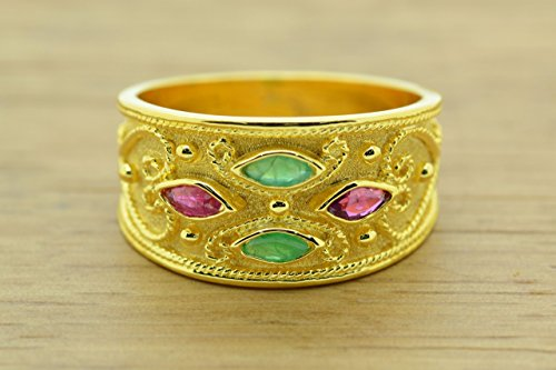 Ring Style Etruscan (Etruscan Style Ring With Marquise Cut Rubies Emerald Cz Ring 22K Gold Plated, Byzantine Rubies Emeralds CZ Ring, 22K Gold Plated Ring, CZ Band Ring, Sterling Silver Ring, Byzantine Ring, Greek Jewelry, Luxury Ring, Medieval Ring, Elegant Sterling Silver Ring, cubic zirconia Ring)