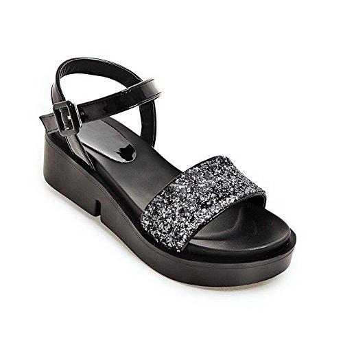 BalaMasa Ladies Platform Metal Buckles Peep-Toe Urethane Sandals Silver b9uWnmVChM