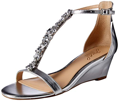 Badgley Mischka Jewel Women's Darrell Wedge Sandal, Silver/Metallic, 9 M - Jewel Sandals Metallic