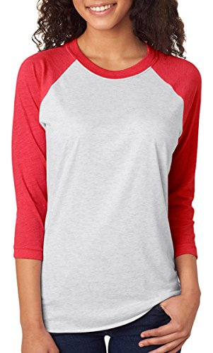 Next Level Apparel 6051 Unisex Tri-Blend 3 By 4 Sleeve Raglan - Vintage Red & Heather White44; Large (Raglan Red)