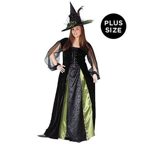 Fun World Women's Plus Goth Maiden Witch, Black, 16W-24W (Satin Witch Costume)
