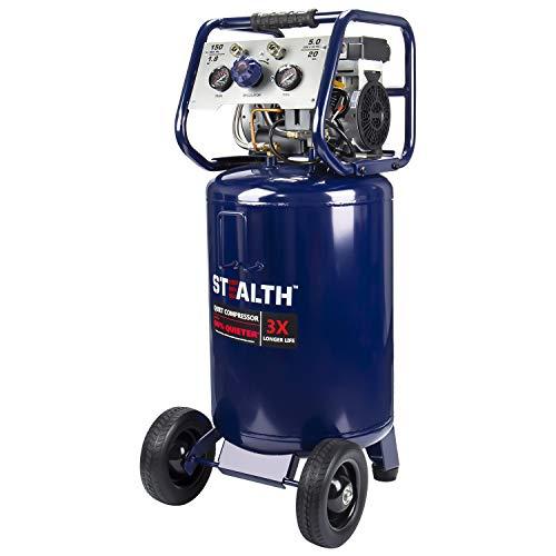 Stealth 20 Gallon Ultra Quiet Air Compressor,1.8 HP Oil-Free Peak 150 PSI 68 Decibel Air Compressor, 6CFM @ 40 PSI 5 CFM…