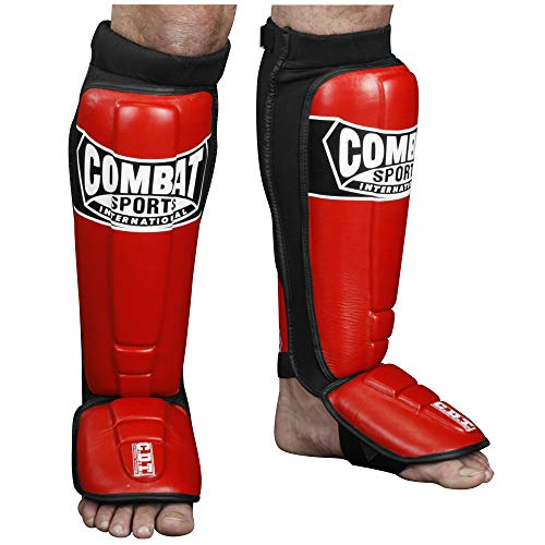 Combat Sports Pro-Style MMA Shin Guards, Red, Regular