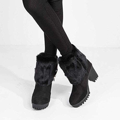stivali Alla Spesso Neve A Donna Tacco Black Con Mantenere Inverno Stivali In Peluche Stivaletti Caldi Camoscio Fibbia Scarpe Tubo Da Moda Corto 87SOqXwqW