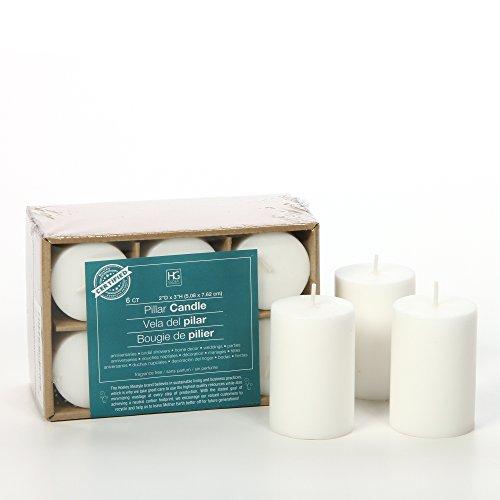 "Hosley 3"" High Pillar Candles, SET OF 6. WHITE, Unscented. B"