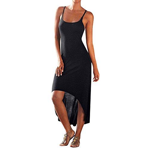 Sexy Suspender Dress Women,Londony✔ Irregular Hem Dresses for Ladies Plus Size Casual Loose Sleeveless Maxi Dresses Black