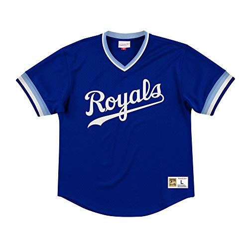 Mitchell & Ness Kansas City Royals Men's Mesh V-Neck Jersey (XX-Large)