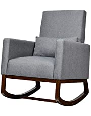 DORTALA Rocking Chair Multifunctional High Back Chair W/Fabric Cushion,WoodenTapered and Rocking Legs Dual Purpose for Living Room,Bedroom,Office Upholstered Accent Chair