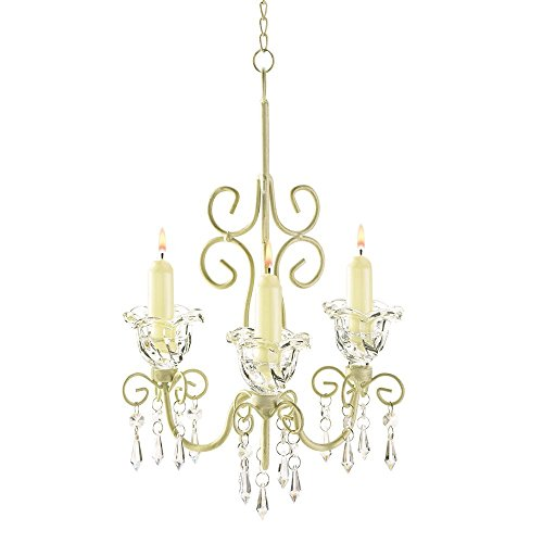 Ivory Rustic Chandelier (Antique Chandelier Candle Holder, Hanging Candle Chandelier White Ivory - Metal)