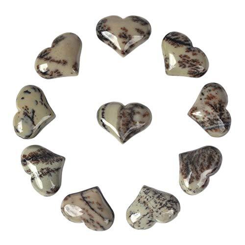 Gemstone Painting - Natural Chinese Painting Jasper Gemstone Healing Crystal 1 inch Mini Puffy Heart Pocket Stone Iron Gift Box (Pack of 10)