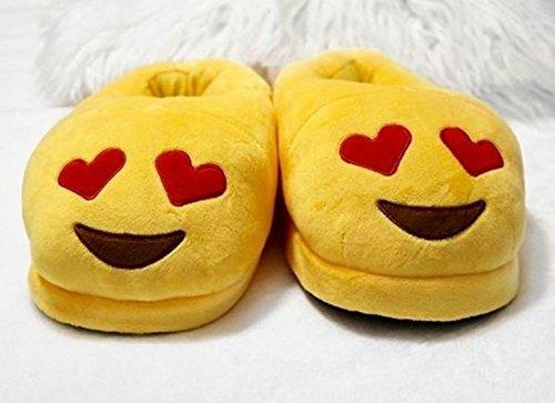 Plush Emoji Kids Bedroom ANKIT Size for Smiley Girls Teens Heart Slippers One Cute Women Slippers Eyes Emoji vX5qU5a