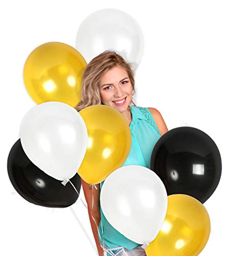 Treasures Gifted Pack of 100 Metallic Black White and Gold 12 Inch Latex Balloons for Baby Shower Masquerade Retirement Centerpieces Halloween New Year or Prom Dance -