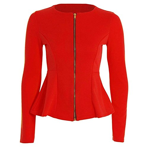 Plus Peplum Size 26 METLUQ Size Ruffle Tailored Jacket Womens Ladies Red 8 M0D4 Blazer Top Zip qCCY7Iw