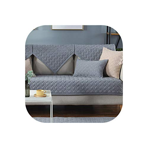 - Cotton Sofa Cushions Four Seasons Sofa Towel Backrest Towel Pure Color Sectional Sofa Cover Pillowcases,Grey,110x160cm