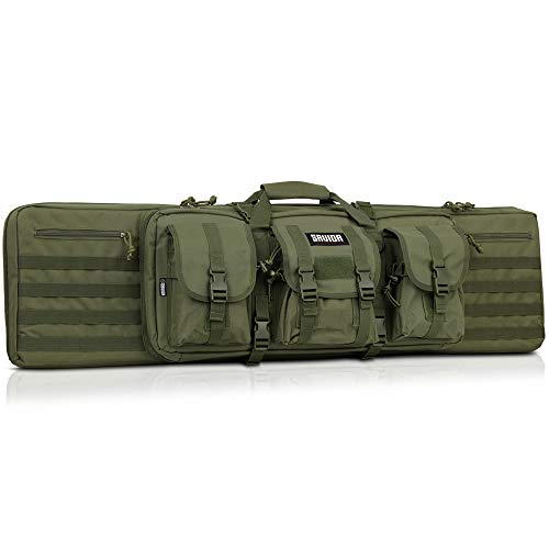 Savior Equipment American Classic Tactical Double Long Rifle Pistol Gun Bag Firearm Transportation Case w/Backpack - 51 Inch Olive Drab Green