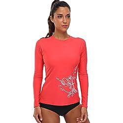 BeautyIn Women's Long Sleeve Rash Guard UPF 50+ Swim Shirt UV Athletic Tops,Red,X-Large