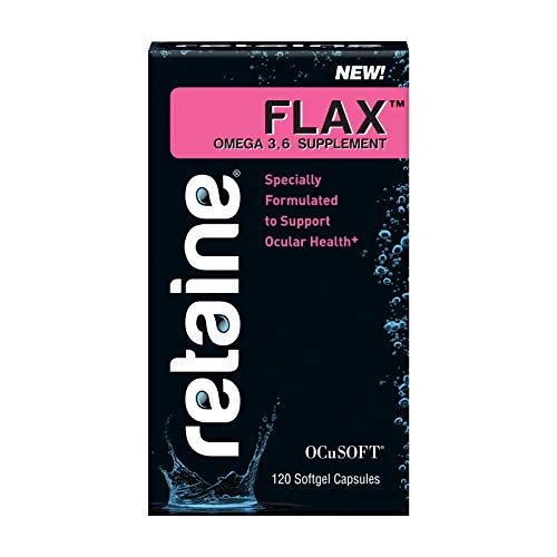 OCuSOFT Retaine Flax Omega 3 and Omega 6 Supplement for Eye Nutrition, 120 Soft Gel Capsules (Bottle)