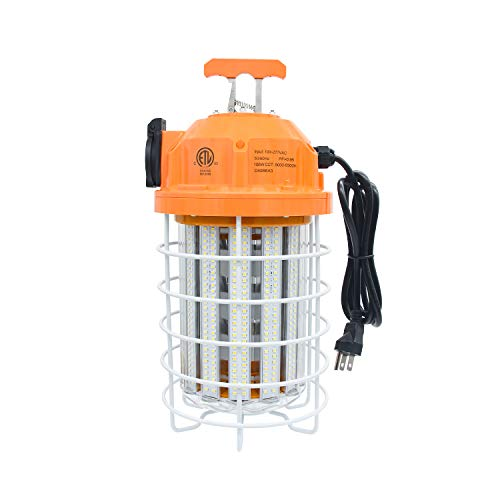 100 Watts LED Temporary Work Light, Daylight White 5,000K Durable Jobsite Lighting, Stainless Steel Protective Cover Portable Hanging Lamp, for Warehouse High Bay Outdoor Construction Fixture