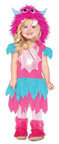 [UHC Little Girl's Sweetheart Monster Toddler Kids Fancy Dress Halloween Costume, 3T-4T] (Little Girl Scary Clown Costume)