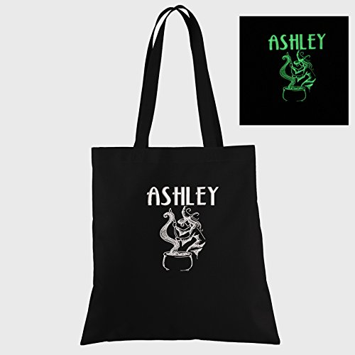 Witch's Cauldron Glow in the Dark Personalized Embroidered Halloween Trick or Treat Bag ()