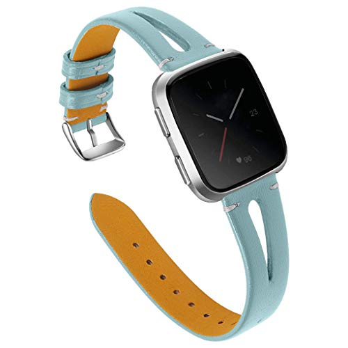 Radorock Fashion Replacement T-Shirt Leather Strap Wrist Strap for Fitbit Versa Newly Printed Leather Unique Openwork Design Elegant Creative Gift (Blue) ()