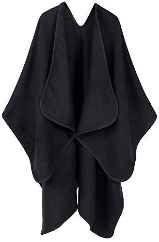 Andorra Women's Vintage Soft Merino Wool Kimono Wrap Cardigan Ruanas w/Tassels (Black)