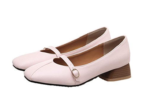On Low Heels Toe Pink Odomolor Shoes Solid PU Pumps Pull Square Women's x7XCqwHf