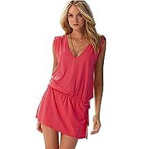 Bestgift Womens Loose Open-back Deep V-neck Sleeveless Summer Beach Dress