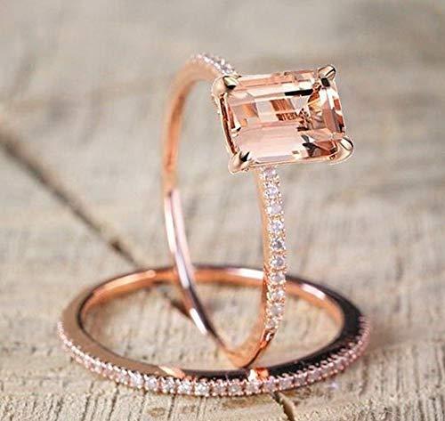 Rhame 18K Rose Gold Fil Ring Women Fashion Jewelry Wedding Emerald Party Size 6-10 | Model RNG - 21711 | 7