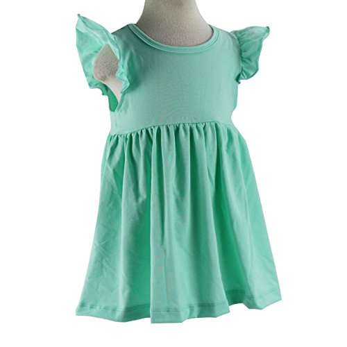 Wennikids Baby Girls' Cotton Flutter Sleeve Dress XX-Large Turquoise
