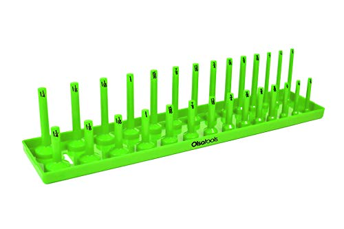 (Olsa Tools | 1/2-Inch Drive Socket Organizer Tray | Green SAE Socket Holder | Premium Quality Tool Organizer)
