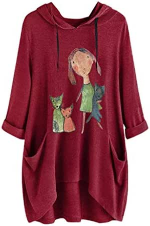 Sweatshirt Dress Women with Pockets Casual Letter Cat Ear Print Plus Size Knee Length Sport Hooded Dress