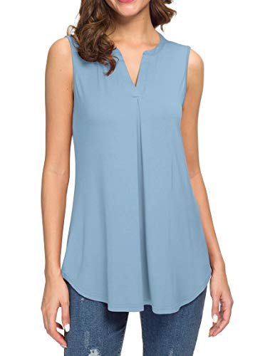 (Neineiwu Women's Summer Sleeveless V Neck T-Shirt Casual Tank Tops Blouse Shirts (Light Blue 2XL))