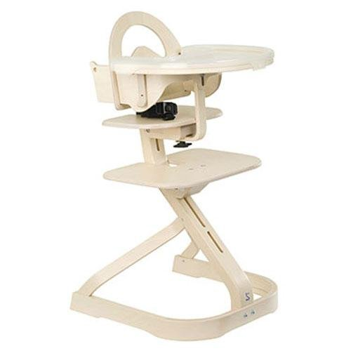 Svan Wooden High Chair with Removable Tray, Whitewash
