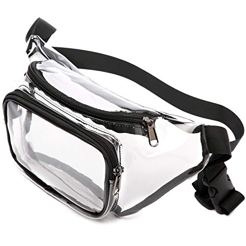 Clear Fanny Pack, BuyAgain Cute Clear Waist Bag Approved for NFL Games, Concert, Travel, Fit for Women, Men, Black ()