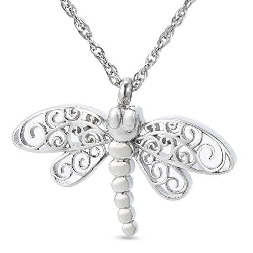 ZARABE Cremation Jewelry Dragonfly Urn Ashes Vial Holder Keepsake Jewelry Funeral Memorial Locket