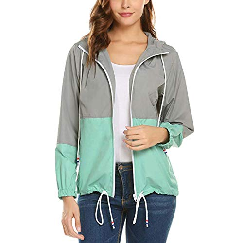 iYBUIA Women Long Sleeve Patchwork Thin Skinsuits Hooded Zipper Pockets Sport Coat(Green,XL) from iYBUA