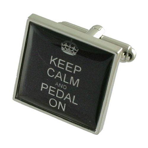 Boutons de manchette Boutons de manchette vélo ~ Gardez Pedal Calme Sur Signe Cufflinks Select Cadeau Noir Pouch