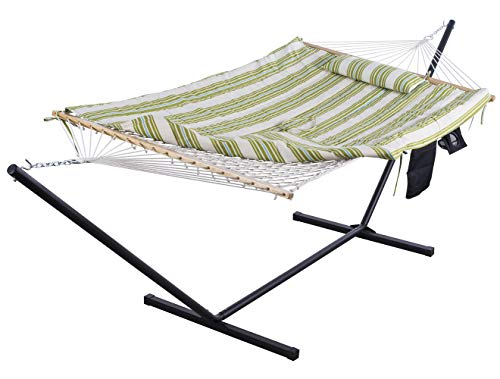 SUNCREAT Cotton Rope Hammock with 12 Foot Steel Stand, Includes Pad and Pillow, iPad Bag and Cup Holder-Green & Beige
