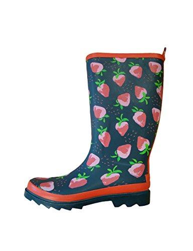 MaxiMo Damen Gummistiefel, Damen Regenstiefel aus Naturgummi, Rot Motiv Erdbeere