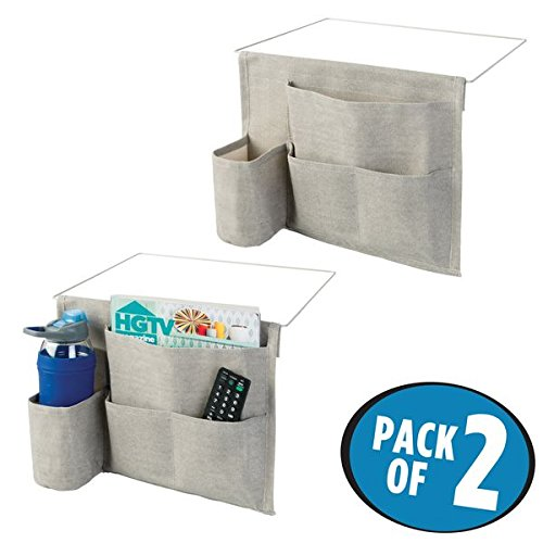 mDesign Bedside Storage Organizer Caddy - Slim Space Saving Design, 4 Pockets - Heavy Weight Cotton Canvas - Holds Water Bottles, Books, Magazines - Pack of 2, Light Gray/Wire Insert in Matte Satin (Bedside Slim)