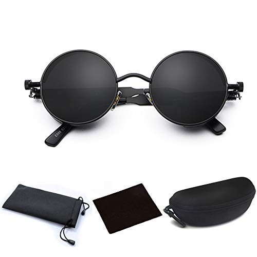 (JJLHIF Mens Womens Steampunk Round Sunglasses Vintage Retro Style Fashion Cyber Goggles Metal Frame Beach Sun Glasses Caircle Reflective Lens with Glasses Case for Men Women (All Black))